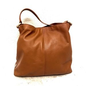 Kooba toffee brown pebbled leather large hobo bag